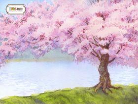 "Фон стена ""Sakura aquarelle"""